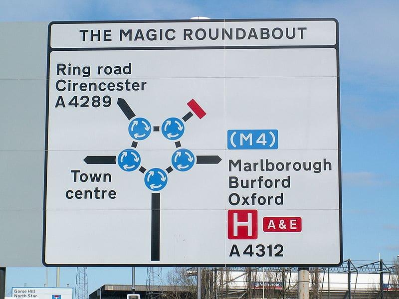 Panneau du rond-point magique à Swindon (manège enchanté)