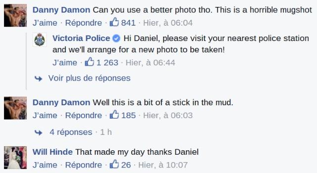 recherché par police commente facebook