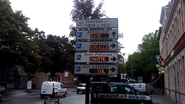 hacker pirate panneaux de parkings à Lille