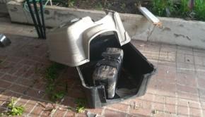 niche de chien détruite par paquet de cannabis