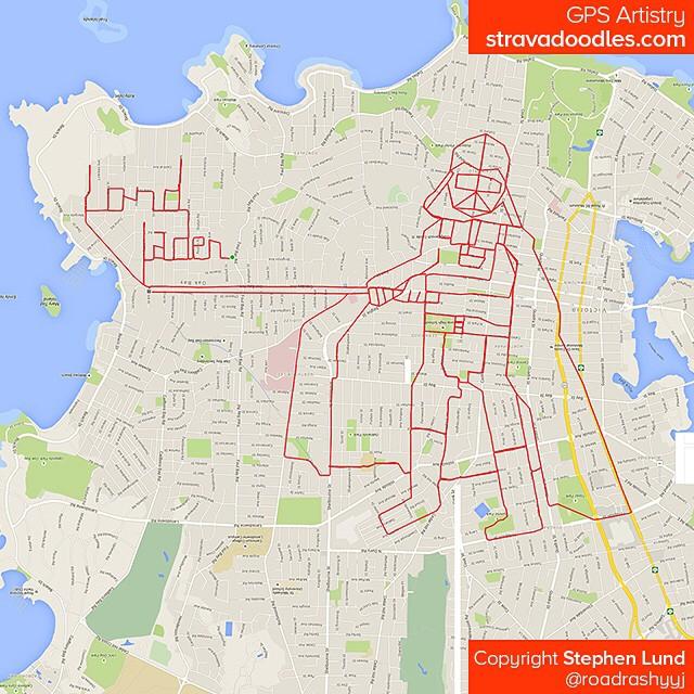 Dark Vador dessiné avec GPS