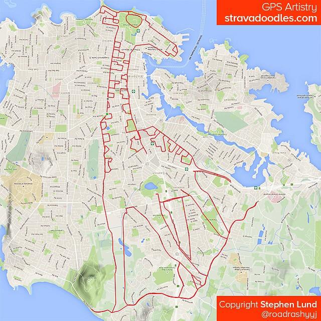 Girafe dessinée sur carte avec un GPS