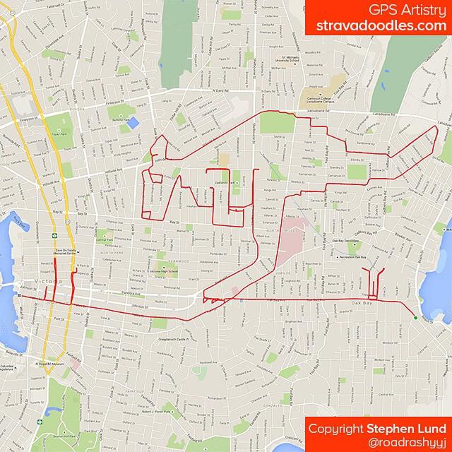 Kangourou dessiné sur carte avec GPS