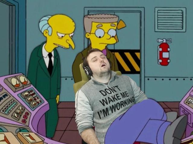 endormi deuxième jour de stage détournement Homer Simpson au travail