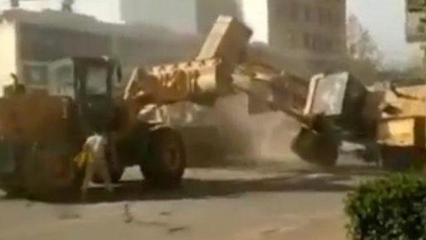 bataille de bulldozers en Chine